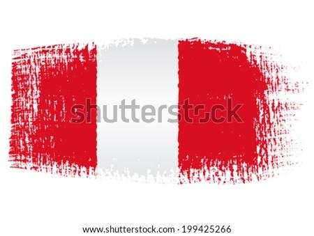 brushstroke flag Peru - stock vector