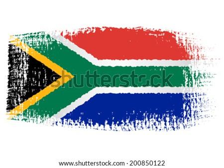 brushstroke flag South Africa - stock vector