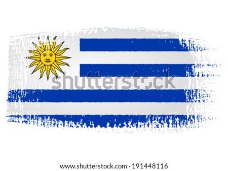 brushstroke flag Uruguay with transparent background - stock vector