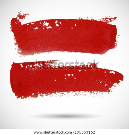Brushstroke red banners. Ink watercolor spot grunge background. Template with shadow - stock vector