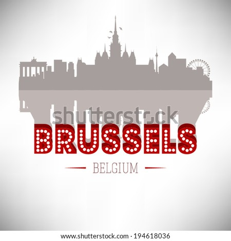 Brussels Belgium skyline silhouette design, vector illustration. - stock vector
