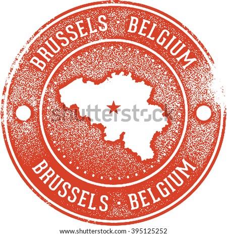 Brussels Belgium Travel Stamp - stock vector