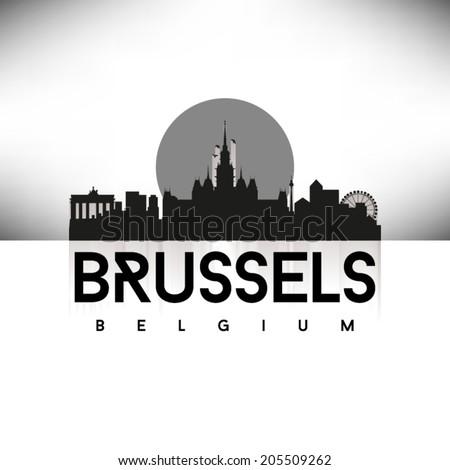 Brussels Black Skyline Silhouette vector illustration, Typographic design. - stock vector