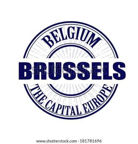 Brussels grunge stamp with on vector illustration