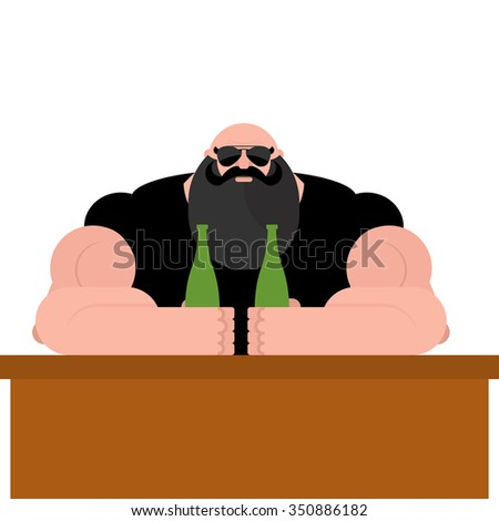 Brutal biker bar. Bearded man with spectacles. Strong grandfather with big muscles. Powerful man with beer bottle. - stock vector