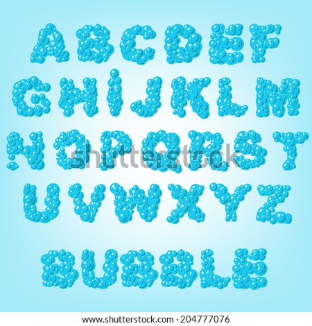 bubble abstract latin alphabet letters