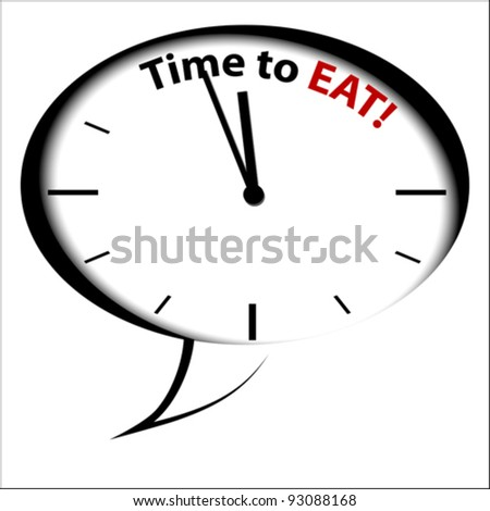 """Bubble Clock """"Time for EAT"""", vector - stock vector"""