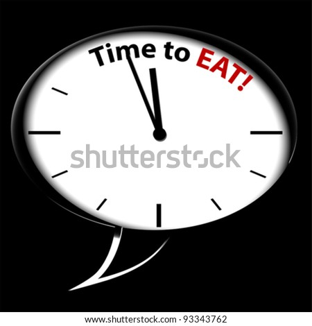 "Bubble Clock ""Time for EAT"", vector"