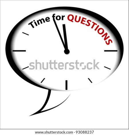 """Bubble Clock """"Time to Questions """", vector - stock vector"""