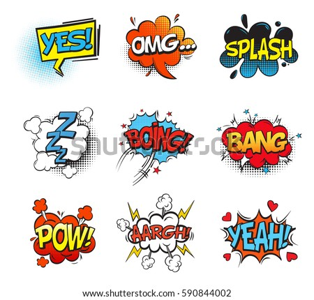 bubble comic speeches explanation onomatopoeia cartoon stock vector