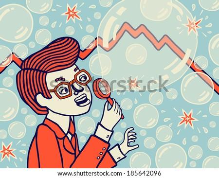 Bubble Economy. Economic Collapse. Vector illustration. - stock vector