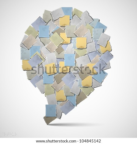 Bubble for speech of pieces of old paper - stock vector