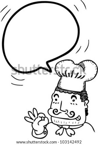 bubble speech from chef - stock vector