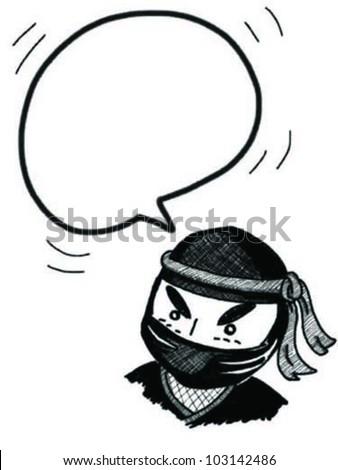 bubble speech from ninja - stock vector