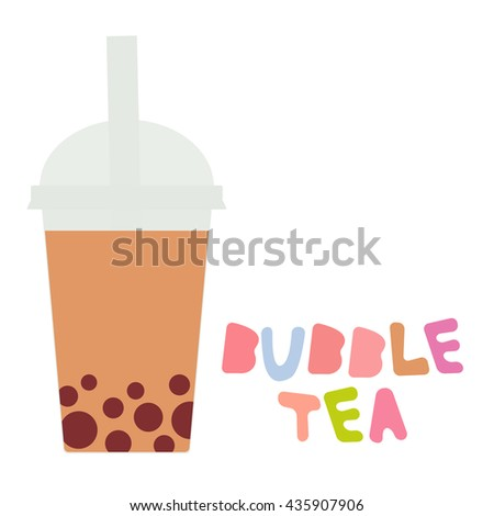Bubble Tea with chocolate cocoa coffee. Milk Cocktails in plastic cup, tubule, pastel colors on white background. Vector - stock vector