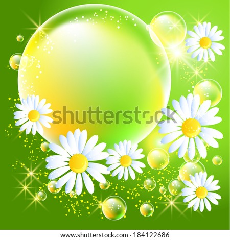 Bubbles and daisy on green glowing background - stock vector
