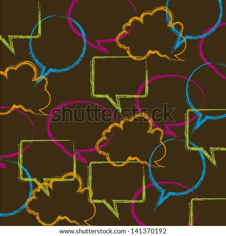 bubbles expression over brown background vector illustration - stock vector