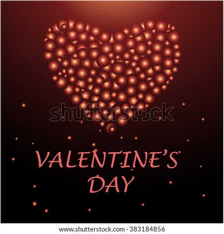 Bubbles in heart shape. Happy Valentine's Day Greeting Card. Vector illustration. - stock vector