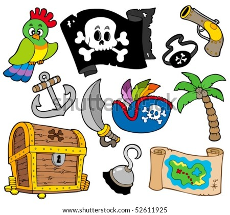 Buccaneer collection on white background - vector illustration. - stock vector