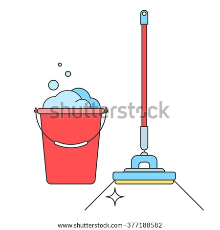 Bucket and mop brush isolated on white background. Cleaning, the concept of the sign. Vector illustration of flat line style for the design of your web site and print - stock vector