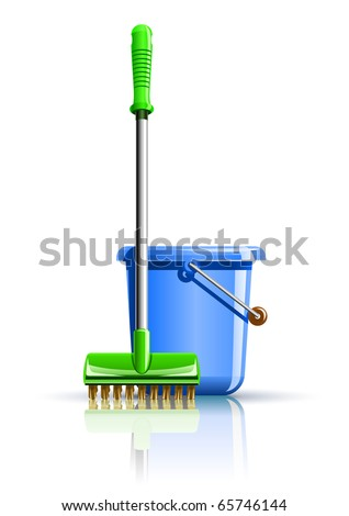 bucket and mop for cleaning vector illustration isolated on white background - stock vector