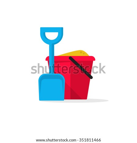 Bucket and spade with sand vector illustration flat icon isolated on white, kid toys tools symbol, pail shovel label, modern design sticker, sandbox place sign badge ribbon, logo concept - stock vector