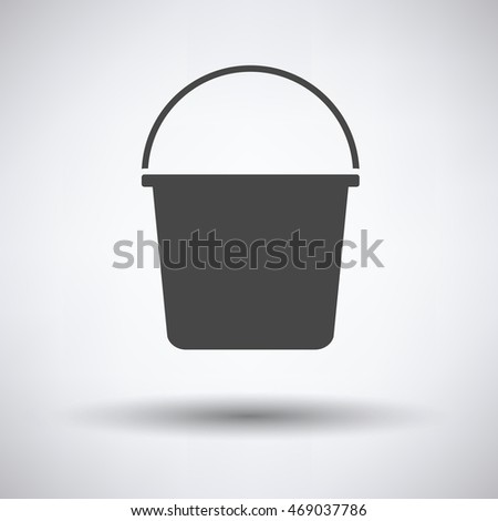 Bucket icon on gray background with round shadow. Vector illustration.