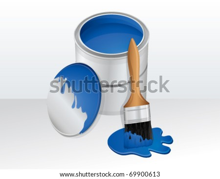 Bucket of paint and paintbrush, vector - stock vector