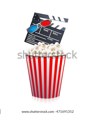 Bucket of popcorn with clapper board and 3d glasses