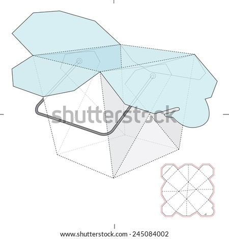 Bucket Shaped Carrier Box with Die-Cut Template - stock vector