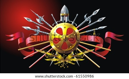 Buckler and spears - stock vector