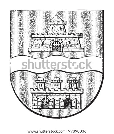 Budapest coat of arms (capital of Hungary) / vintage illustration from Meyers Konversations-Lexikon 1897 - stock vector