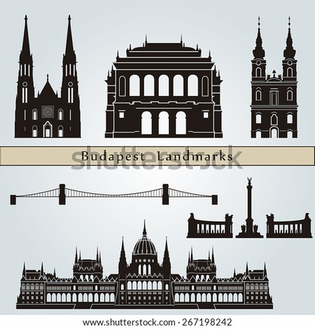 Budapest landmarks and monuments isolated on blue background in editable vector file - stock vector