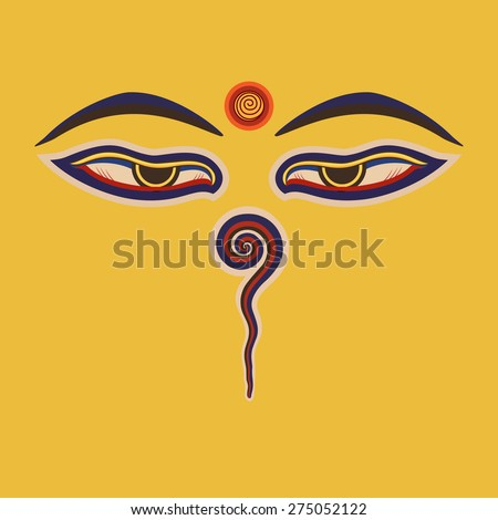 Buddha eyes  of the Nepal .Vector eps10 - stock vector
