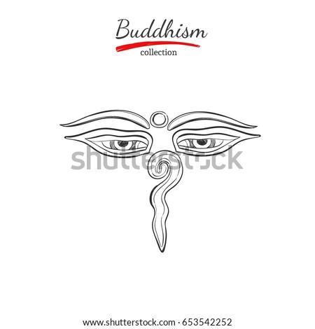 Buddha Eyes Symbol Buddhism Spirituality Yoga Print Stock Vector Hd