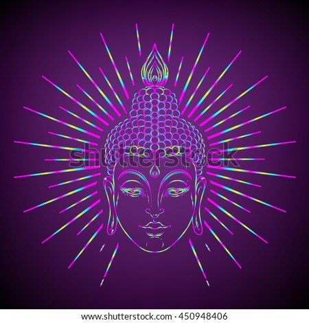 Buddha face with radiating rays of light. Esoteric vintage vector illustration. Indian, Buddhism, spiritual art. Hippie tattoo, spirituality, Thai god, yoga zen. Psychedelic hypnotic colors.