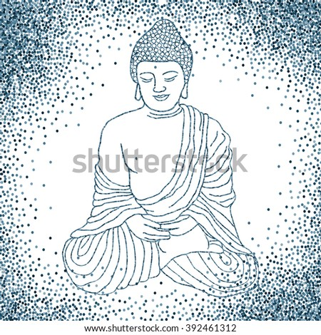 Buddha in meditation, sitting in lotus position. Hand drawn vector illustration. Banner or flyer with confetti glitter on white background. Easy to use and edit template. Vector illustration. - stock vector
