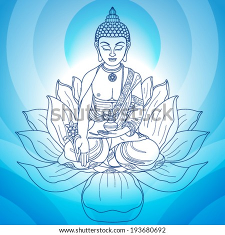 Buddha in meditation with hands and flower jug on blue background  - stock vector