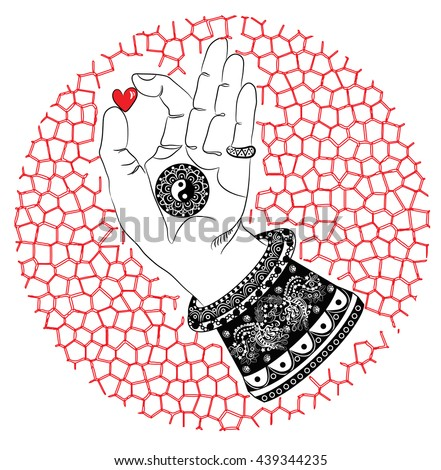 Buddhas Hand Heart Yin Yang Symbol Stock Photo Photo Vector