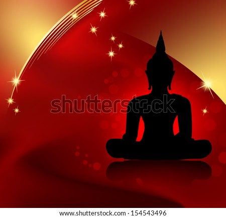 Buddha silhouette against red background with golden border - stock vector