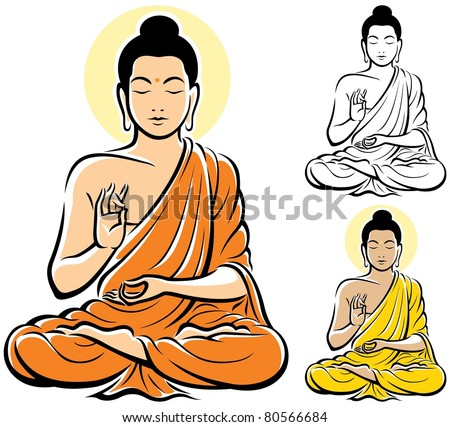Buddha: Stylized illustration of Buddha, isolated on white background. No transparency and gradients used. - stock vector