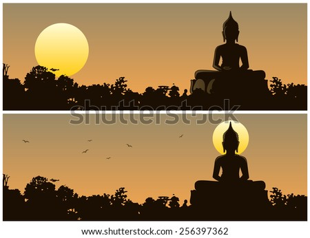 Buddha Sunset: Buddha statue in the jungle at sunset. 2 different versions. No transparency used. Basic (linear) gradients used. - stock vector