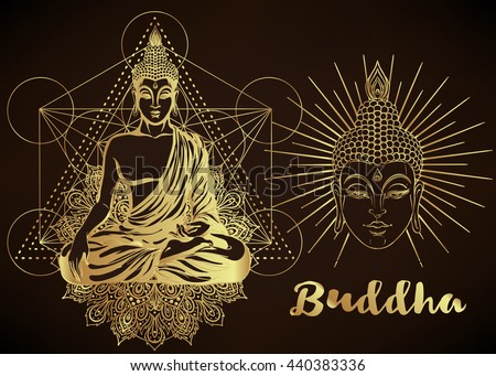 Buddha vector illustration over sacred geometry. Vintage decorative composition. Indian, Buddhism, Spiritual buddha motifs. Golden stickers, flash temporary, mehndi and yoga design, cards and prints.