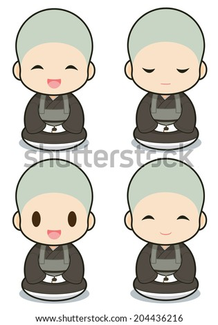 Buddhist monasticism cartoon, japanese - stock vector