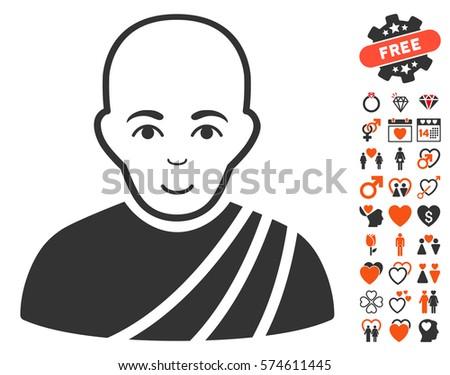 Buddhist Monk Icon Bonus Love Pictures Stock Vector 574611445