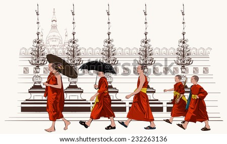 Buddhist monks walking in a temple - vector illustration - stock vector