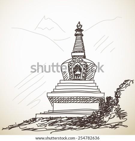 Buddhist stupa in mountain, Hand drawn illustration, Vector sketch - stock vector