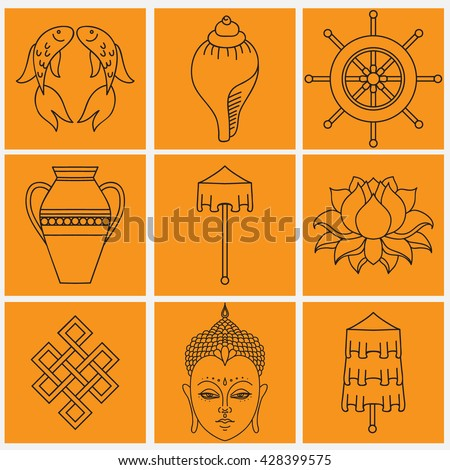 Buddhist Symbolism 8 Auspicious Symbols Buddhism Stock Photo Photo