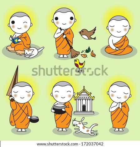 Buddhist Thai Monk Characters set illustration - stock vector
