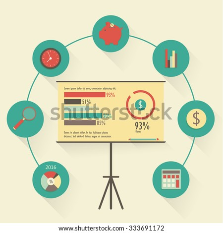 Budget concept. Flat banking and finance icons - stock vector